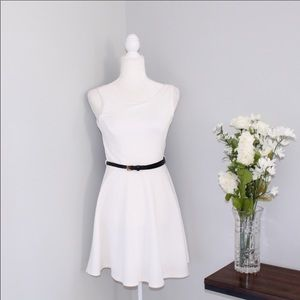 Forever 21 White Belted Skater Dress sz S